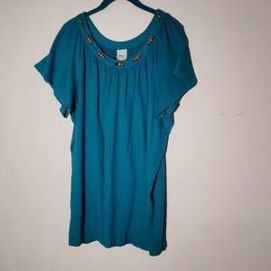 Just My Size Turquoise Beaded Top